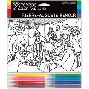 Tarjetas coloreables - PIERRE AUGUSTE RENOIR (3 UNIDADES)