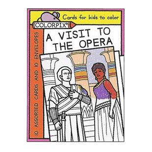 Tarjetas coloreables - UNA VISITA A LA OPERA (10 UDS.)