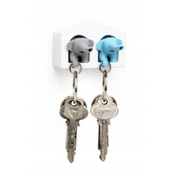 Colgador de llaves y llavero - DUO ELEPHANT KEY RING BLANCO-AZUL-GRIS
